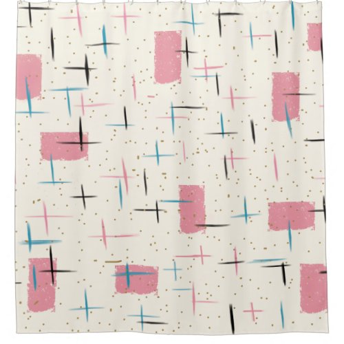 Retro Atomic Pink Pattern Shower Curtain