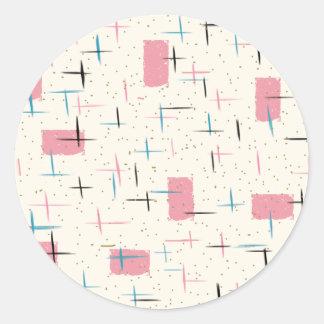 Retro Atomic Pink Pattern Stickers