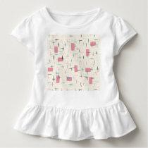 Retro Atomic Pink Pattern Toddler Ruffle T-Shirt
