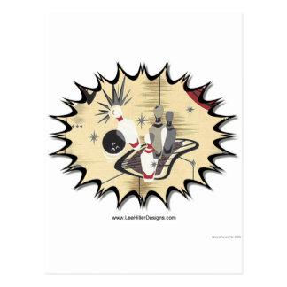 Retro Atomic Print 50s Bowling Apparel & Gifts Postcard