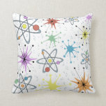 "Retro Atomic Throw Pillow<br><div class=""desc"">A throw back to the Atomic Age of the 50&#39;s and early 60&#39;s with retro atomic shapes and colors. Perfect for retro quilts,  wrapping paper,  dress making among other uses. Also makes a great addition to any retro futurism decor and design needs.</div>"