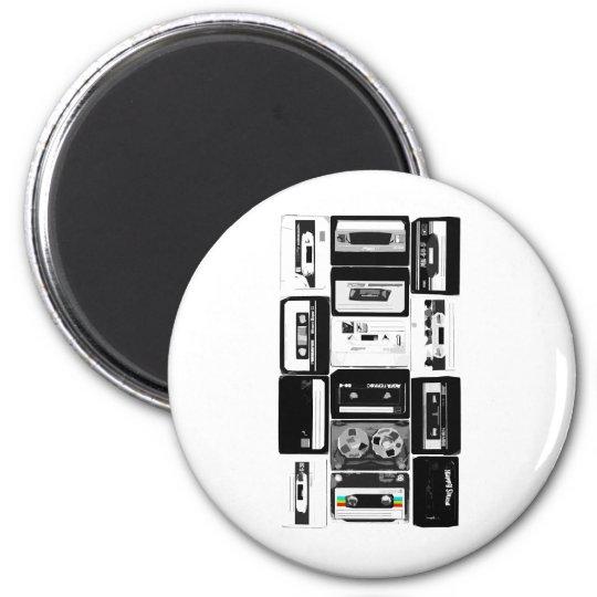Retro audio cassette group b&w magnet