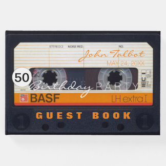 Retro Audiotape 50th birthday Guest Book