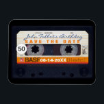"Retro Audiotape 50th birthday Save the date Magnet<br><div class=""desc"">Old audio cassette to personalize with your name and date. Customizable 50th birthday Save the Date magnet. Matching birthday save the date postcard,  birthday invitation and guest book (spiral notebook and hard cover).. Don&#39;t forget the whole collection of retro audiotapes (transparent,  green colors,  with decals and more... ).</div>"