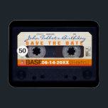 """Retro Audiotape 50th birthday Save the date Magnet<br><div class=""""desc"""">Old audio cassette to personalize with your name and date. Customizable 50th birthday Save the Date magnet. Matching birthday save the date postcard,  birthday invitation and guest book (spiral notebook and hard cover).. Don&#39;t forget the whole collection of retro audiotapes (transparent,  green colors,  with decals and more... ).</div>"""