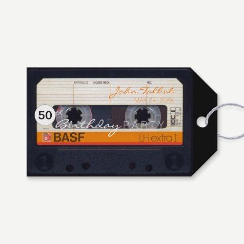 Retro Audiotape 50th birthday Thank You Gift Tag