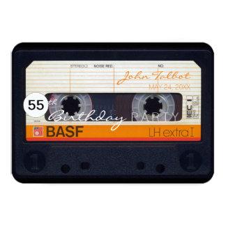 Retro Audiotape 55th birthday Party Invitation
