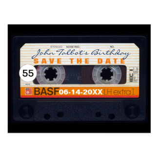 Retro Audiotape 55th birthday Save the date PostC Postcard