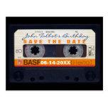Retro Audiotape 60th birthday Save the date PostC Postcard
