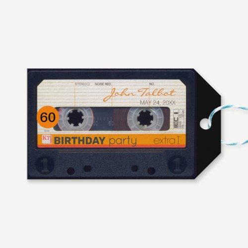 Retro Audiotape 60th birthday Thank You Gift Tag