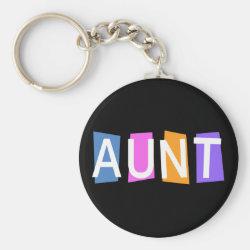 Basic Button Keychain with Retro Aunt design