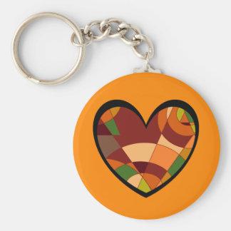 Retro Autumn Heart Abstract Keychain