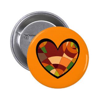 Retro Autumn Heart Abstract Pinback Button