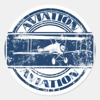 Retro Aviation Art Classic Round Sticker