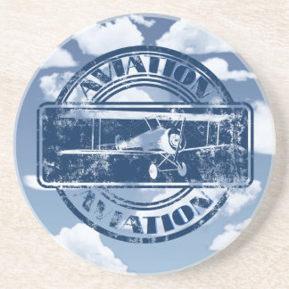 Retro Aviation Art Beverage Coasters