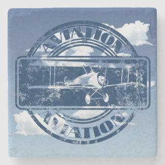 Retro Aviation Art Stone Beverage Coaster