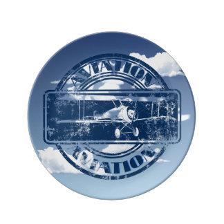 Retro Aviation Art Porcelain Plate
