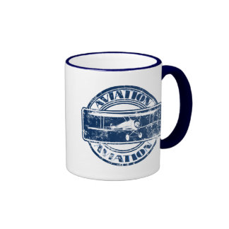 Retro Aviation Art Ringer Coffee Mug