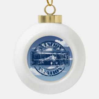 Retro Aviation Art Ceramic Ball Christmas Ornament