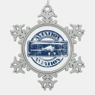 Retro Aviation Art Snowflake Pewter Christmas Ornament