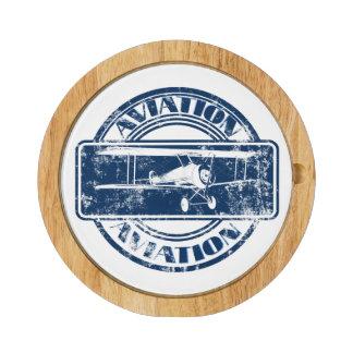 Retro Aviation Art Round Cheeseboard