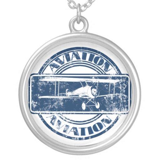 Retro Aviation Art Round Pendant Necklace