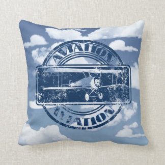 Retro Aviation Art Throw Pillow