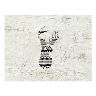 Retro Aztec Deer Head Black White Vintage Wood Postcards