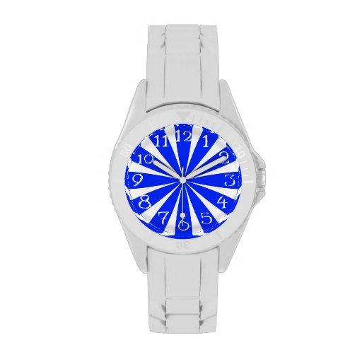Retro azul y blanco reloj de mano