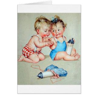 Retro Babies Greeting Card