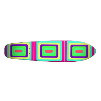 Retro baby blue pink and yellow squares custom skateboard