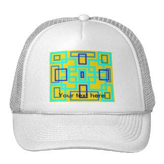 Retro baby blue squares on yellow mesh hats