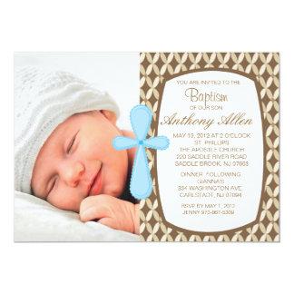 """Retro Baby Boys Photo Baptism Invitation 5"""" X 7"""" Invitation Card"""
