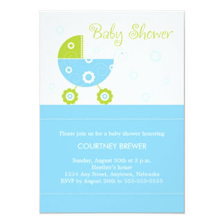 Retro Baby Buggy Baby Shower Invitation