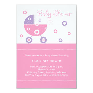 Retro Baby Buggy Baby Shower Invitation in Pink