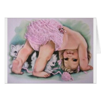 Retro Baby Girl And Kittens Greeting Card