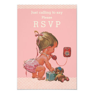 Retro Baby Girl on Phone Baby Shower RSVP Card