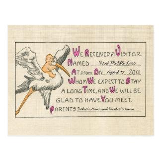 Retro Baby Girl & Stork Parents Birth Announcement Postcard