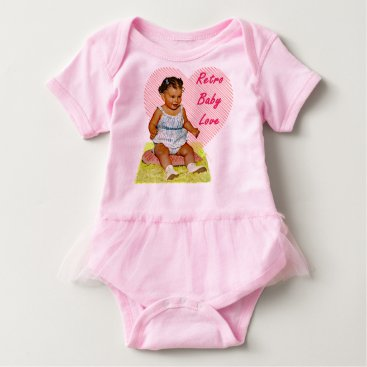frankiesdaughter Retro Baby Love One Piece Baby Tutu Bodysuit