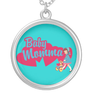 Retro Baby Momma funny Silver Plated Necklace