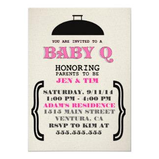 "Retro BaBy Q Baby Shower Invitation 5"" X 7"" Invitation Card"