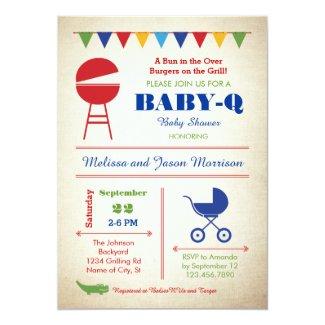 "Retro Baby-Q Baby Shower Invitation 5"" X 7"" Invitation Card"