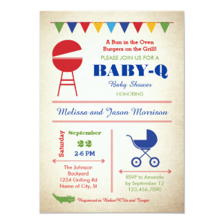Retro Baby-Q Baby Shower Invitation