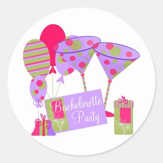 Retro Bachelorette Party Classic Round Sticker