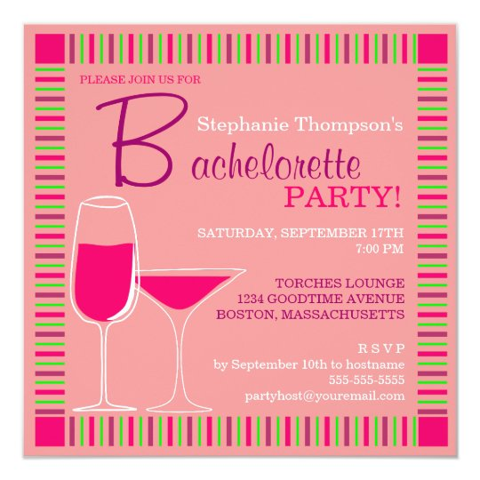Retro Bachelorette Party Pink Cocktails Invitation