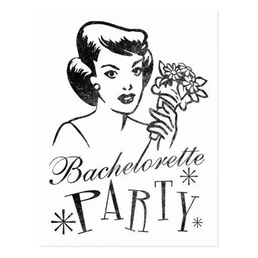 Retro Bachelorette Party Postcard