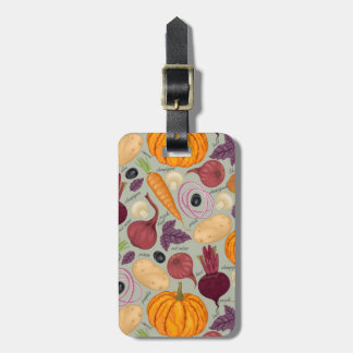 Retro background from fresh vegetables bag tag