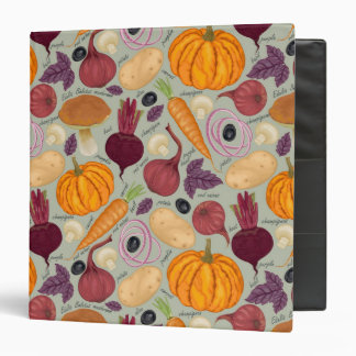 Retro background from fresh vegetables 3 ring binder