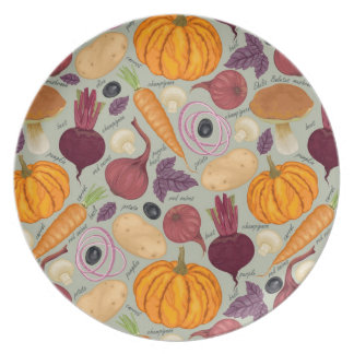Retro background from fresh vegetables plates