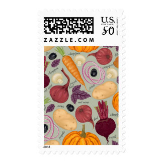 Retro background from fresh vegetables postage